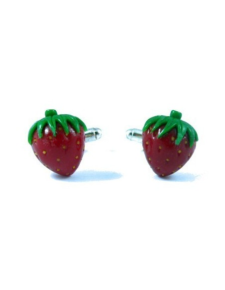 Strawberry-shaped cufflinks