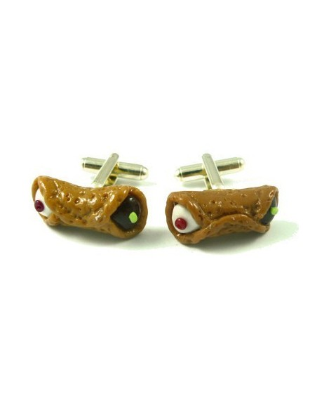 Sicilian Cannolo-shaped cufflinks