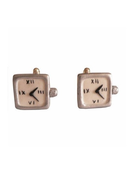 Squared silver watch-shaped cufflinks
