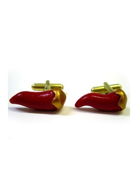 Red chilli-shaped cufflinks