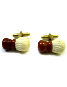 Shaving brush-shaped cufflinks