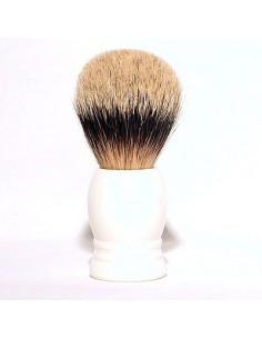 Pennello da barba in tasso con manico in resina bianco