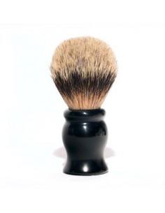 Pennello da barba in tasso con manico in resina nero