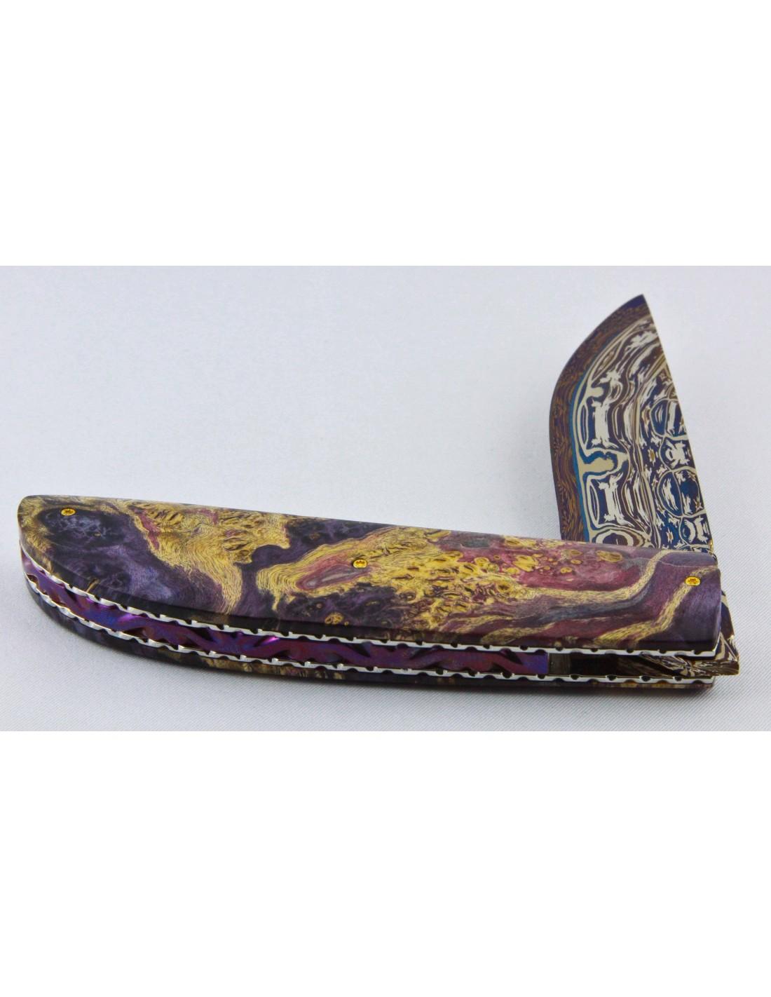Artigianale coltello chiudibile lama al damasco e radica - Coltelli da tavola lama liscia ...