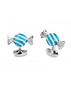 Silver Square Sweet Cufflinks with Red & White Stripes